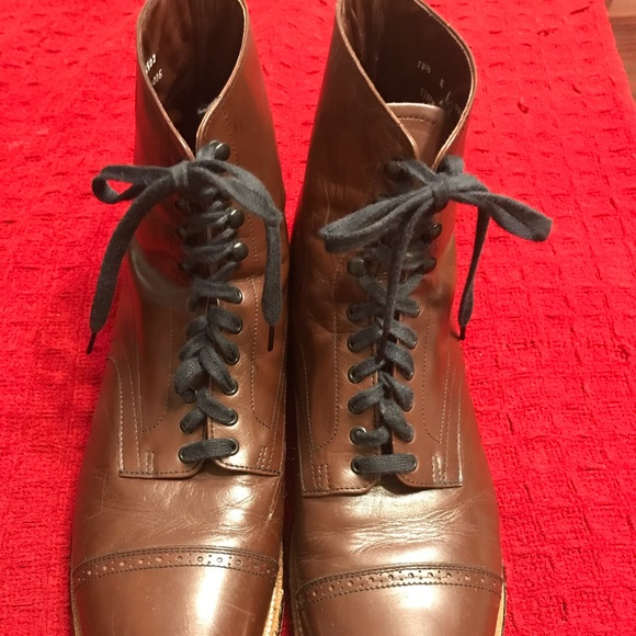 e2200cb615e Stacy Adams Brown Leather Madison Cap Toe Boots